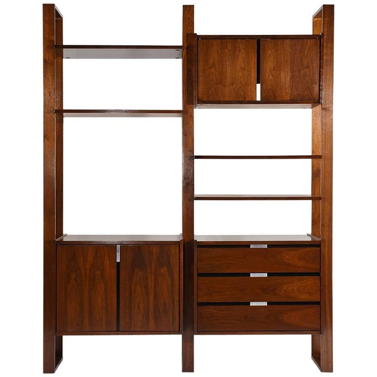 Mid Century Modern Style Walnut Wall Unit Bookcase For