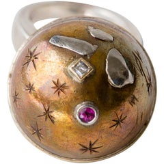 Heavenly Sphere Bronze Silver Platinum Gold Ring with 18 point Diamond