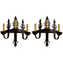 Pair of Antique Wrought Iron Sconces with Three Lights
