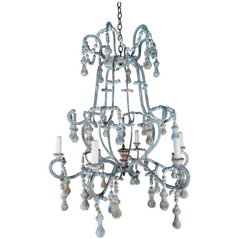 Carved Italian Wood Beaded and Iron Painted Chandelier