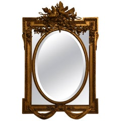 Antique Finest Quality Louis XVI Gold Paneled Mirror with Deep Beveling