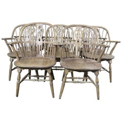 Set of Eight English Windsor Style Armchairs