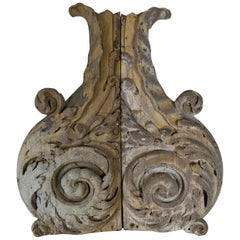 Pair of Carved Scrolled Acanthus Leaf Decor