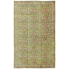 Antique Spanish Rug with Circular Floral Medallions in Golden Green and Red