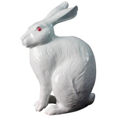 "Japanese Big Pure White Rabbit Tallest Sculpture, Signed Nabeshima 14"" high"