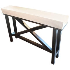 """X"" Motif Steel Console with Limestone Top"