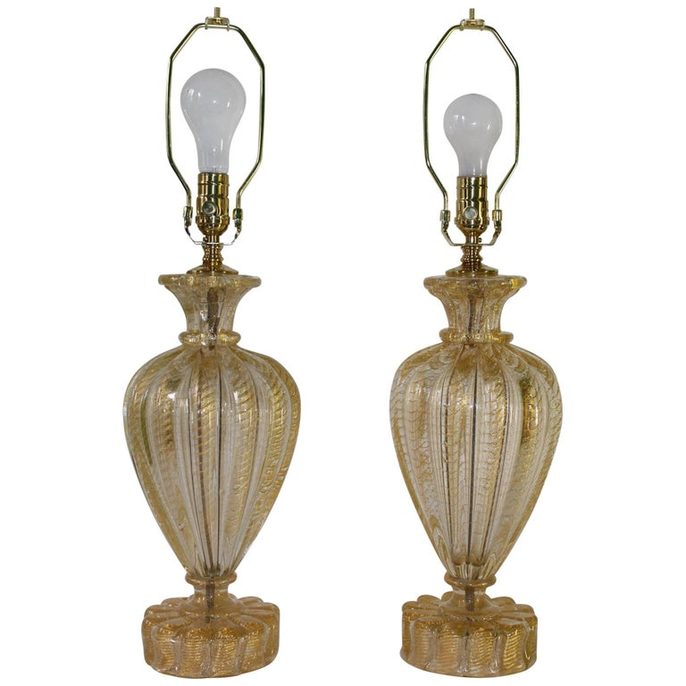 Mid-Century Murano Italian Glass Lamps with Gold Flakes