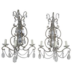 Three-Light Crystal Beaded and Mirror Sconces, Pair