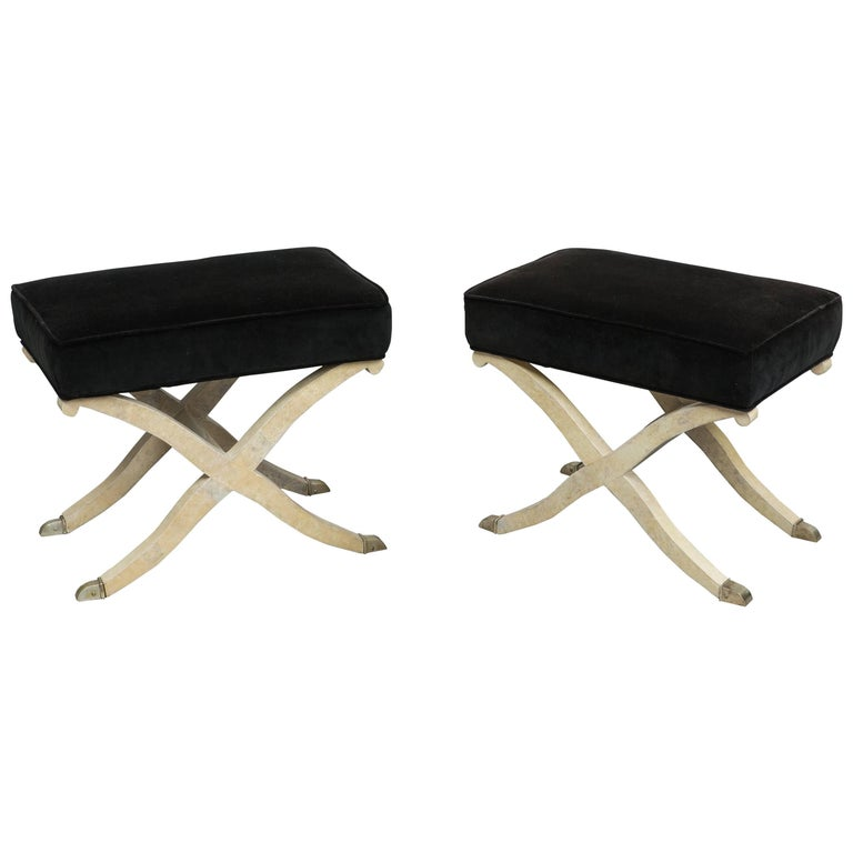 Pair of Art Deco Parchment X-framed Stools, France, 1930s