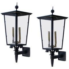 Pair of French Art Deco 1930s Iron & Tole Glazed Exterior Four-Light Lanterns