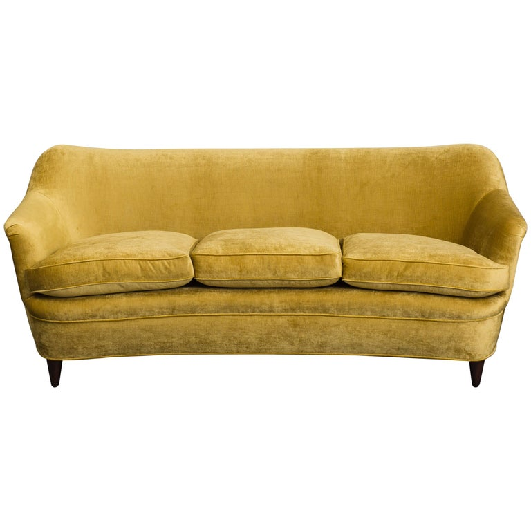 Gio Ponti for Casa E Giardino Curved Sofa, Italy, circa 1938 For Sale