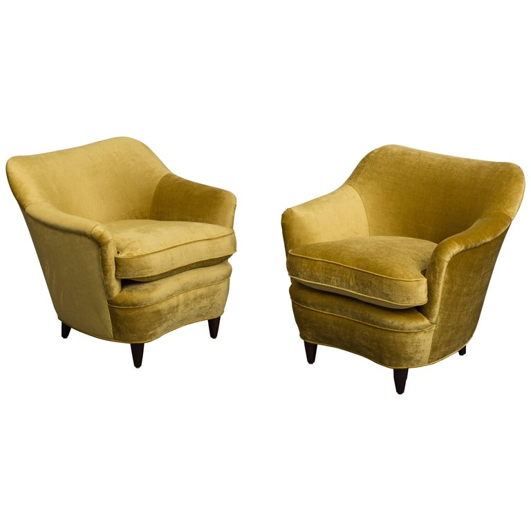 Gio Ponti for Casa E Giardino Pair of Armchairs, Italy, circa 1938 For Sale