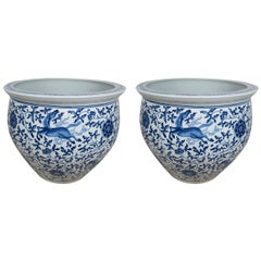 Chinese Porcelain Blue and White Planters, Pair