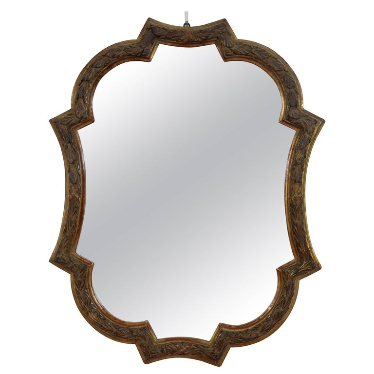 Italian Carved Giltwood Rococo Style Wall Mirror, 19th Century 1