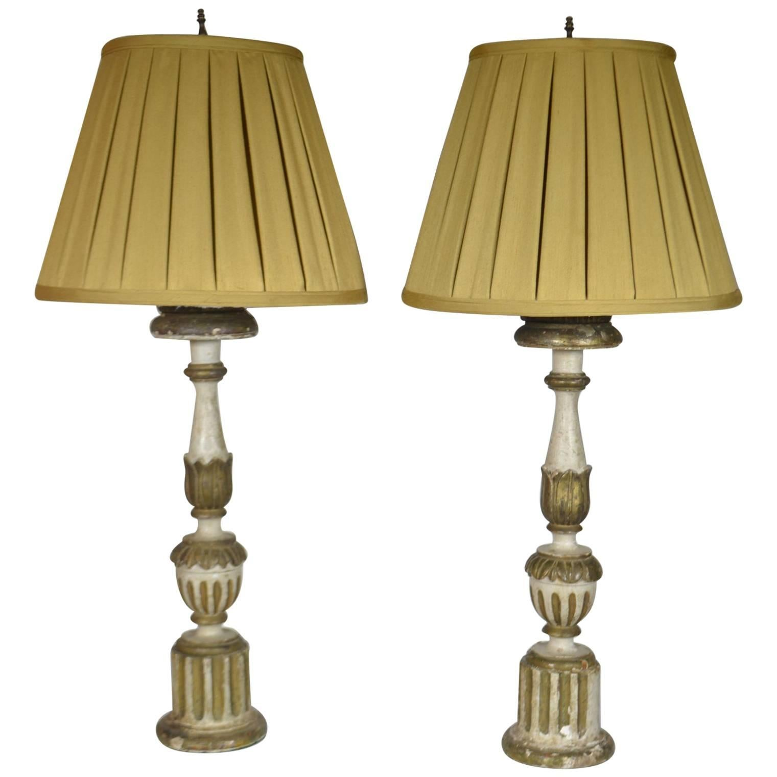 18th Century Pair of Italian Fluted Candlestick Lamps