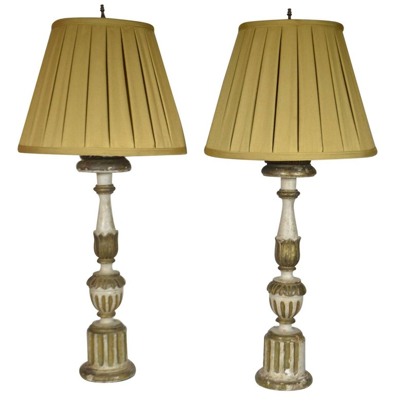 18th century pair of italian fluted candlestick lamps for sale