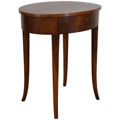 Italian Neoclassical Walnut Oval One Drawer Side Table, 19th Century