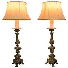 Italian Rococo Pair of Patinated Brass Table Lamps, Mid-18th Century