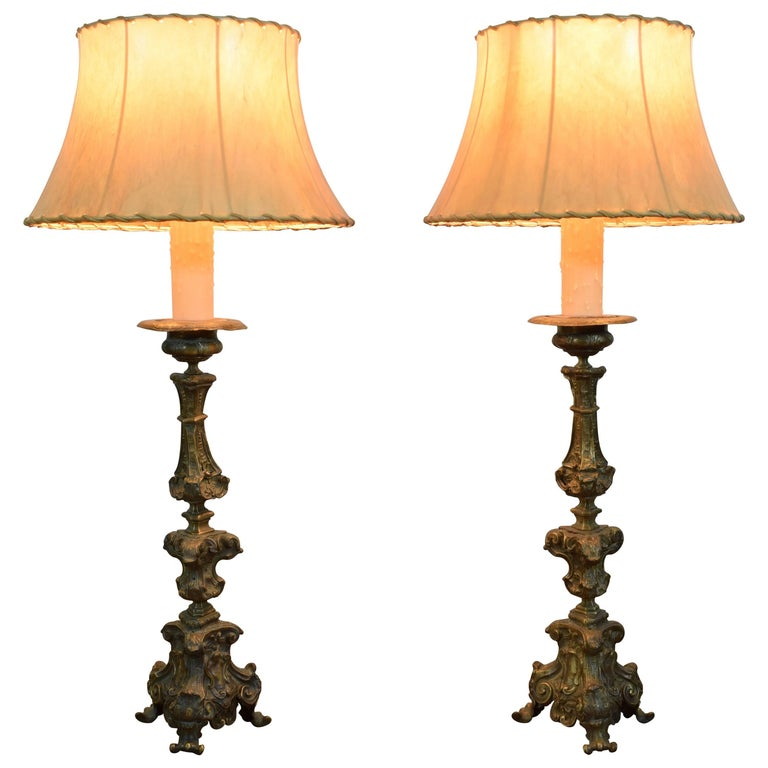 Italian Rococo Pair of Patinated Brass Table Lamps, Mid-18th Century For Sale
