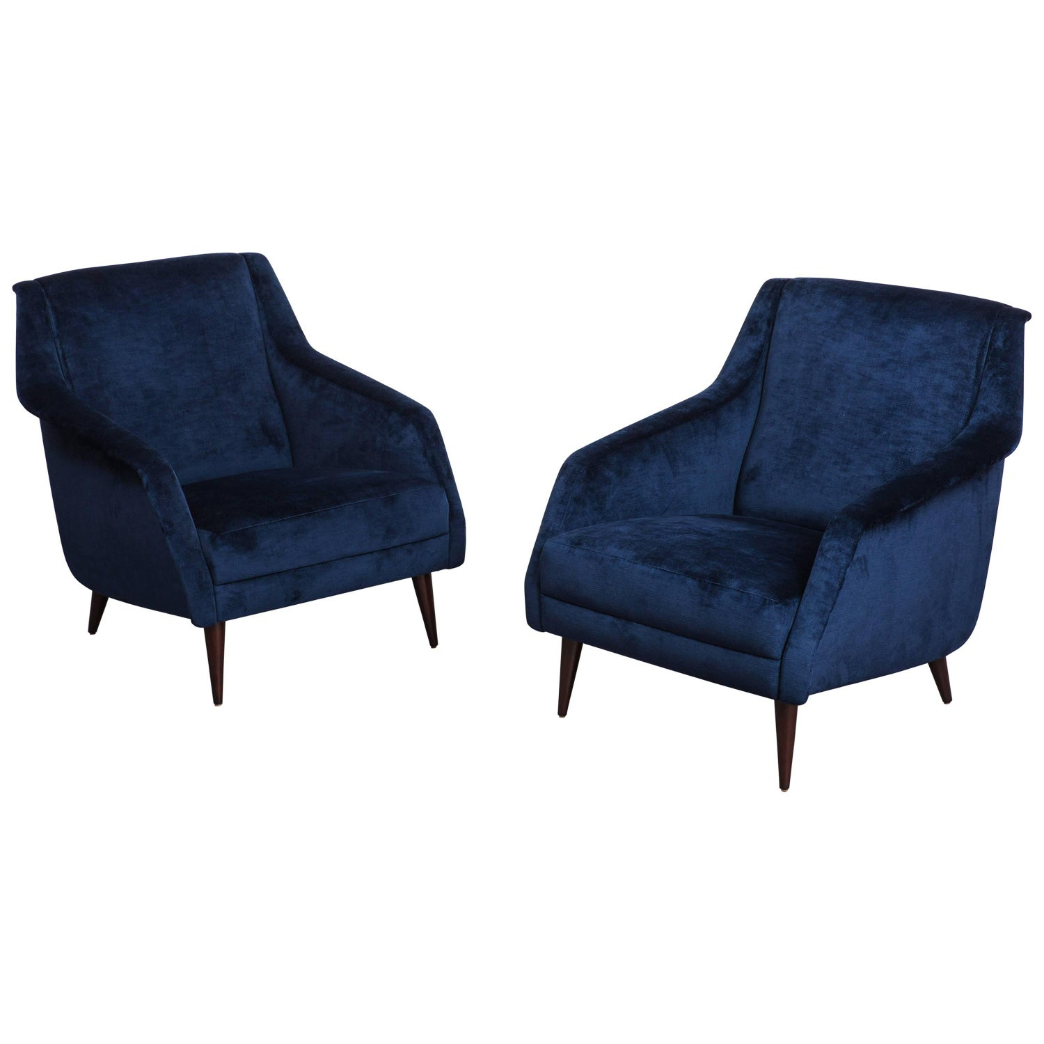 Pair of Carlo di Carli Lounge Chairs and Ottomans for M Singer