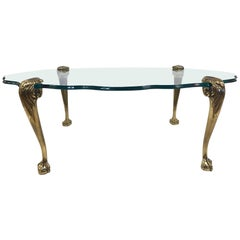 Brass Claw and Ball Glass Top Coffee Table