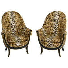 André Groult Pair of Rare Art Deco Ebonized and Gilt Bergères, France, 1920s