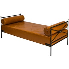 Wrought Iron and Leather Daybed Attributed to André Arbus, France, 1940s