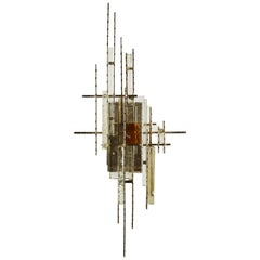Iron and Stained Glass Wall Light by Poliarte
