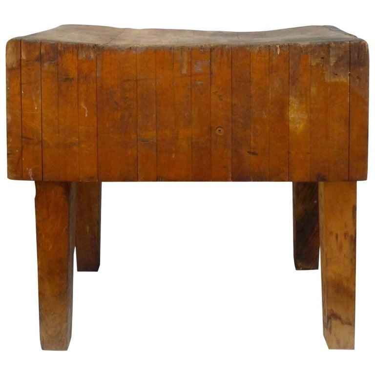 Vintage Wood Butcher Block Table For