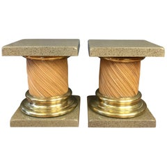 Pair of Lacquered-Top Reed and Brass Columnar End Tables
