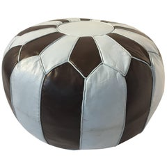 Moroccan Round Leather Pouf Hand-Tooled in Marrakesh