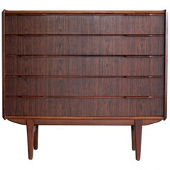 Vintage Danish Mid-Century Rosewood Five-Drawer Dresser