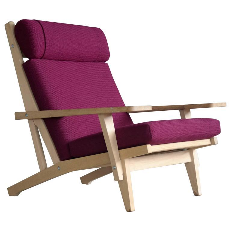 Hans Wegner High Back Easy Chair In Oak Model GE375 For GETAMA For Sale