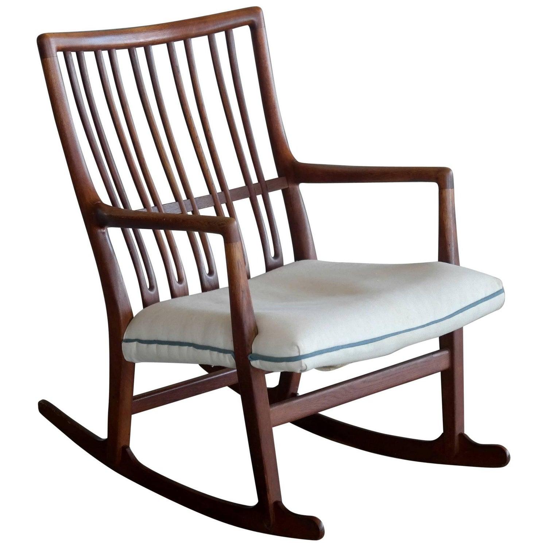 Hans Wegner Ml 33 Rocking Chair in Teak for Mikael Laursen For
