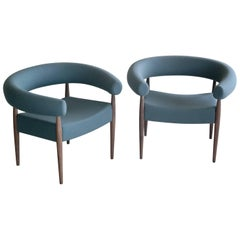 Pair of Nanna Ditzel Ring Chairs in Walnut and Wool for GETAMA
