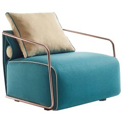 Quickship - Adex Armchair, Contemporary Armchair with Copper Frame Finish