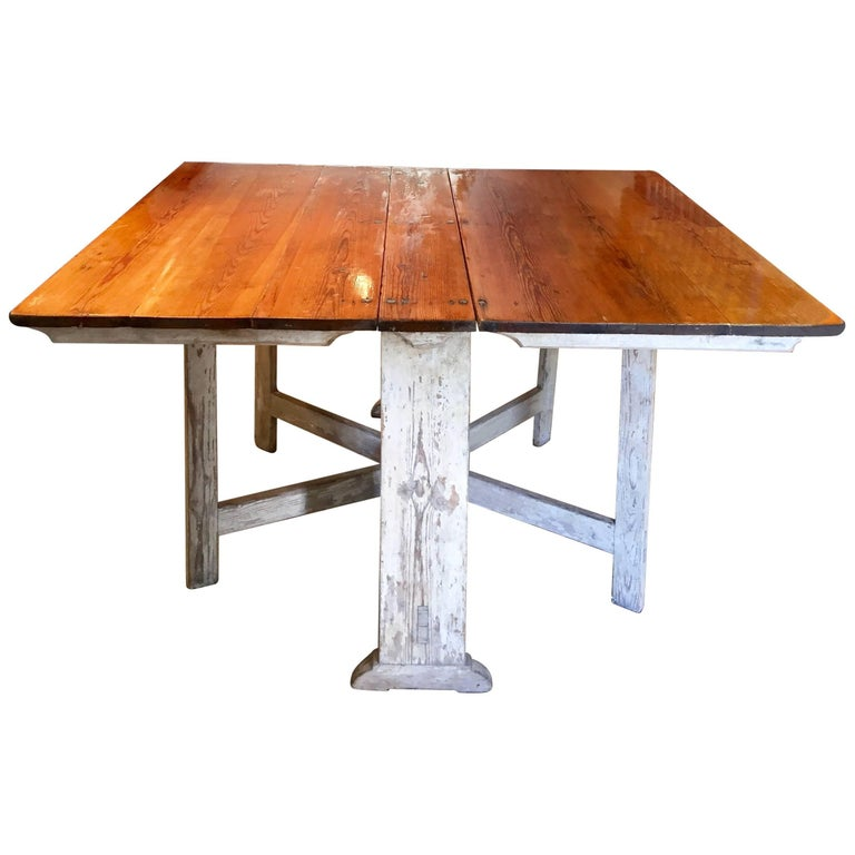 Swedish 18th Century Gustavian Slag Board Table with Original Paint to Base