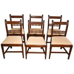 Good Set of Six Regency Period Mahogany Lattice Back Reeded Dining Chairs