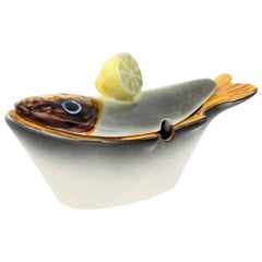 Hispania Lladró Fish and Lemon Glazed Ceramic Sauce Tureen, Spain, 1960s