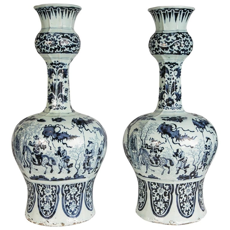 Antique Blue And White Delft Vases Gourd Shaped For Sale At 1stdibs