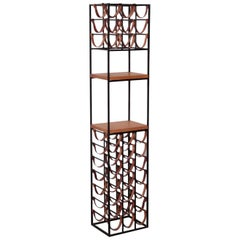 Wrought Iron and Butcher Block Wine Rack by Arthur Umanoff, US 1950s