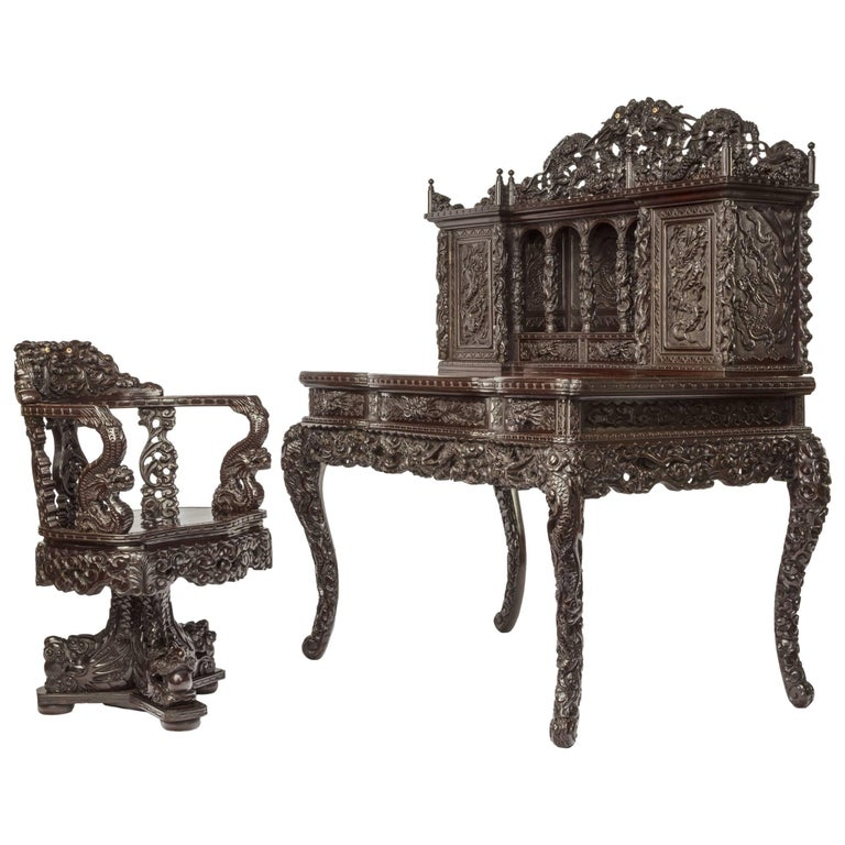 Meiji Period Carved Hardwood Desk and Chair