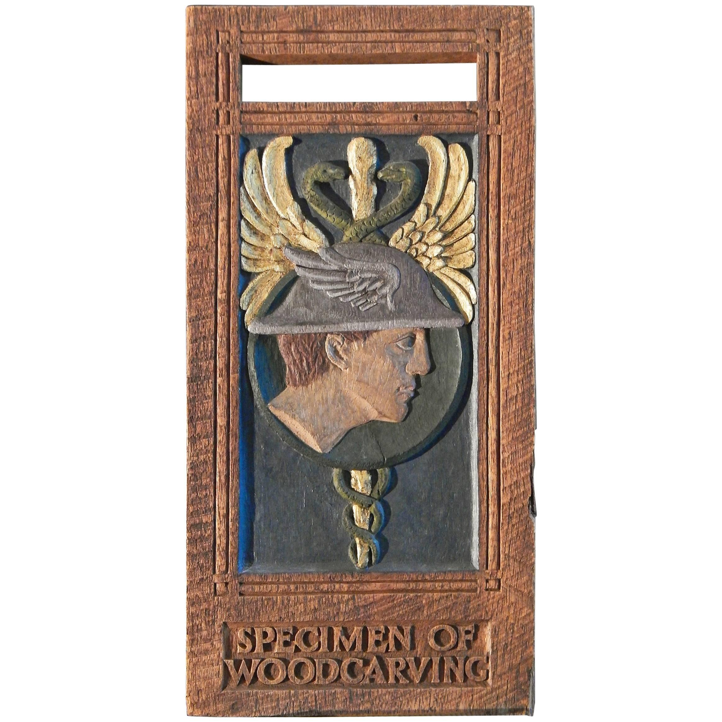"""""""Mercury and Caduceus,"""" Art Deco Sculpted and Painted Advertising Panel"""