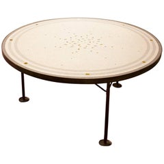 1950s Mid-Century Modern Italian Round Coffee Table in Brass with Mosaic Top