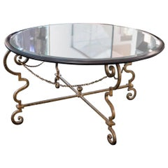 Hollywood Regency Maison Ramsay Centre Table with Gilt Ironwork and Mirror Plate