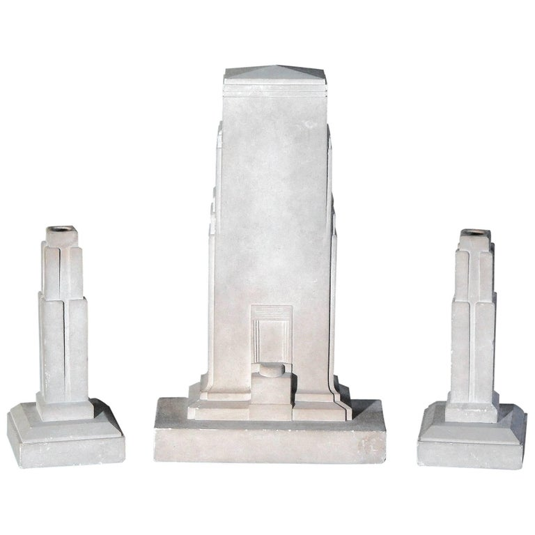 Art Deco Skyscraper Garniture Set with Candlesticks, Carved Limestone