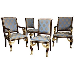 Late 19th Century Set of Four English Mahogany Chairs in the French Empire Style