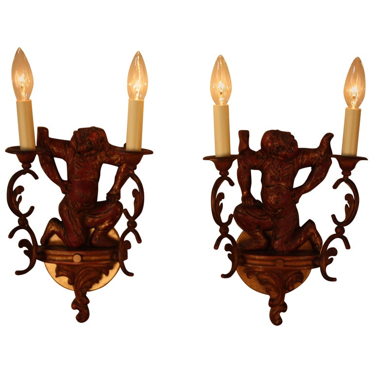 Pair of Carved Wood Chinoiserie Wall Sconces