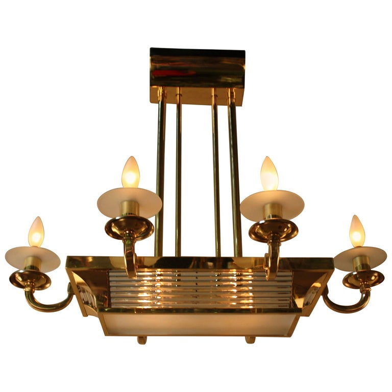 French Art Deco Chandelier by Petitot