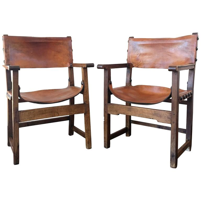 18th Century Pair of Spanish Colonial Style Armchairs For Sale